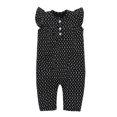 Toddler Newborn Baby Girl Polka Dot Clothes Black Ruffles Button Romper Jumpsuit Outfit Summer Sunsuit Infant Clothing 0-24M newborn infant baby girl clothes strap lace floral romper jumpsuit outfit summer cotton backless one pieces outfit baby onesie