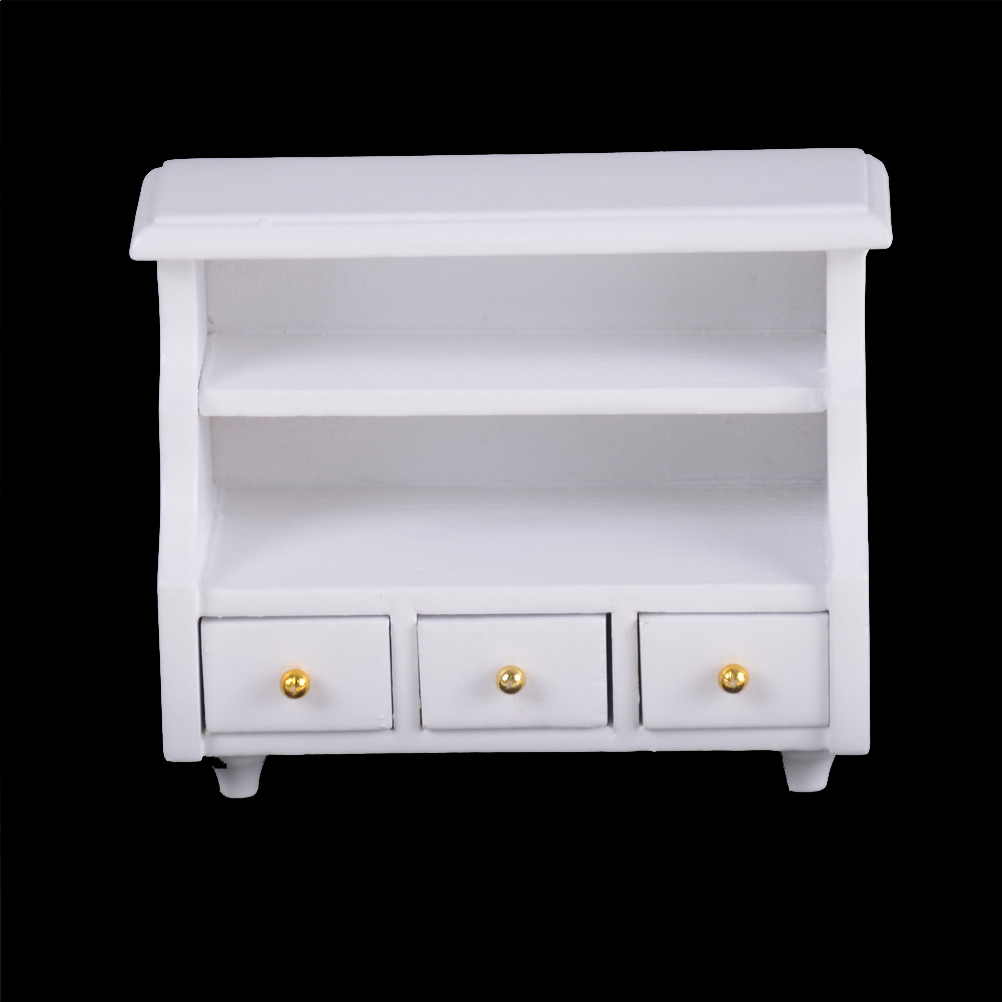 1 12 Scale Furniture Kitchen Bathroom White Cabinet Chest Cupboard Wooden Toys for Bjd for Barbie Doll Dollhouse Miniatures