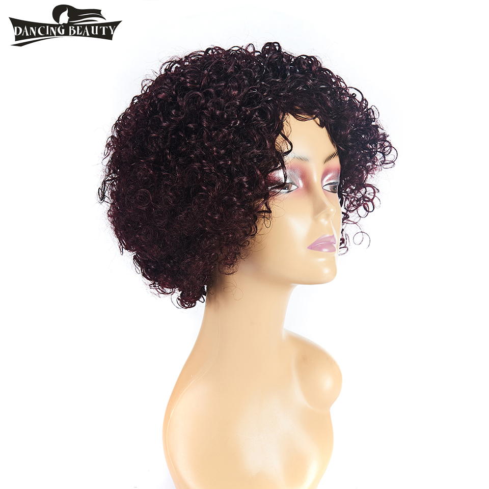 DANCING BEAUTY 100% Short Human Hair Wigs Brazilian Afro Kinky Curly Wigs For Women Non Remy Hair #99J Color One Piece