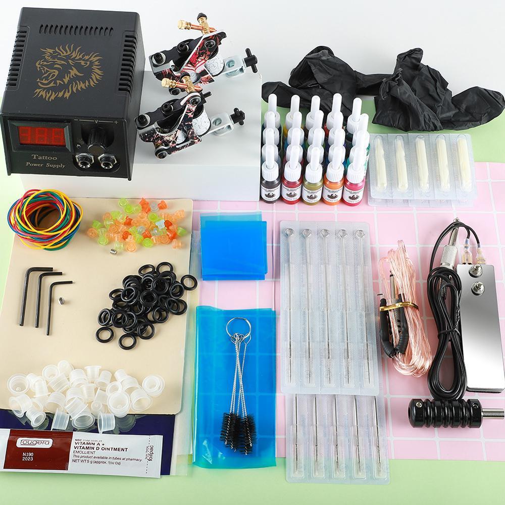 Kit de tatouage professionnel 2 mitrailleuse 20 encres de couleur alimentation électrique Kits de tatouage complets Machine à tatouer Kit de Microblading ensemble de tatouage - 2