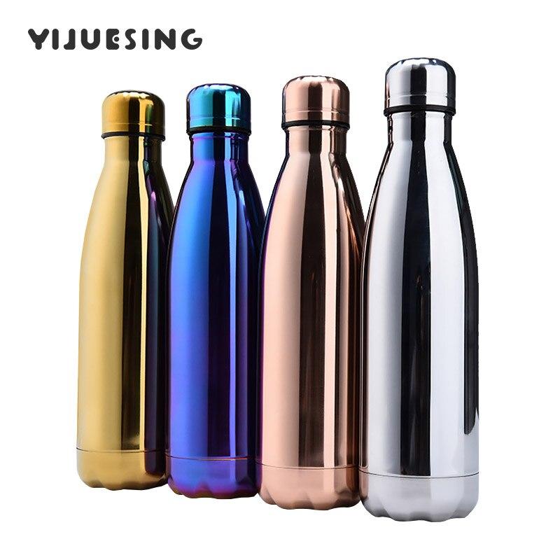In Acciaio Inox Bottiglia di Acqua di Vuoto A Doppia Parete Isolati Metallo BPA Libero A prova di perdite 500 ml Cola a Forma di Bottiglia di Viaggi
