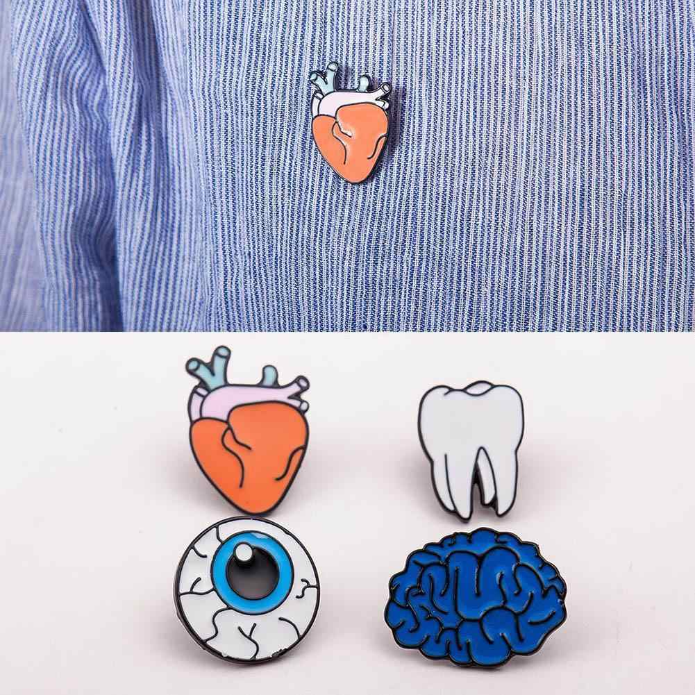 New Style Clothes Accessories Personality Eyeball Organ Brain Heart Brooch Originality Badge Tooth Oil Dripping Brooch Pins