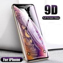 9D закаленное стекло для iPhone 6S 7 8 6 Plus X XR XS Max, стекло на iPhone 11, Защита экрана для iPhone 11 Pro Max, защитная пленка