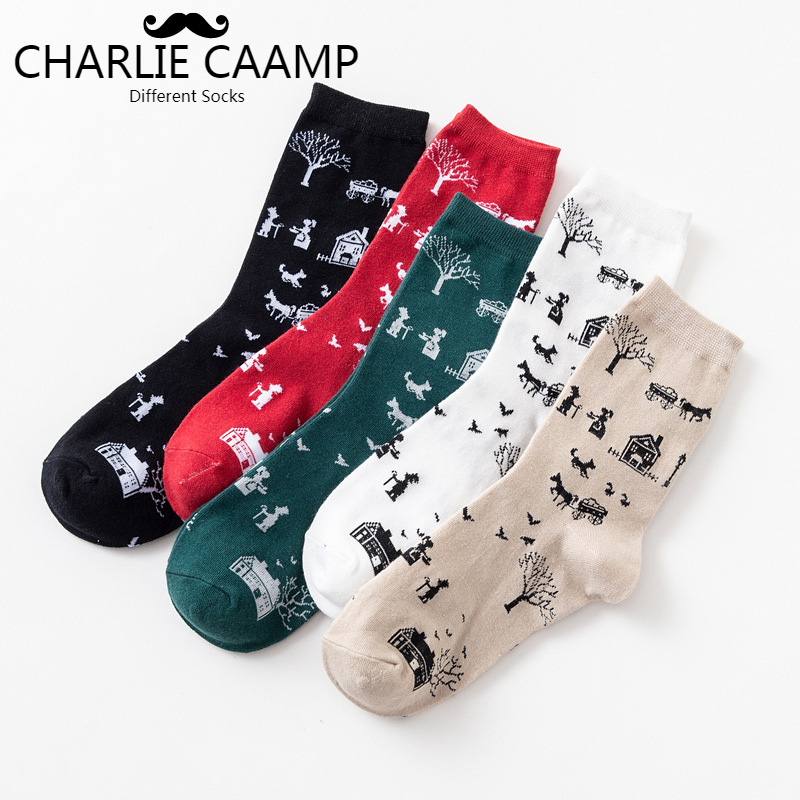2018Autumn Winter New Ladies Cotton Socks Creative Cartoon Japanese Trees House Fashion Trend Personality Women Short Socks J117