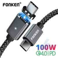 FONKEN 100W Cable magnético 5A USB tipo C a tipo C Cable 1,5 m ordenador portátil tipo-c de la policía cable de carga rápida cable de datos