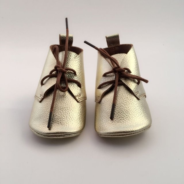 Genuiue Leather Baby Golden Moccasins boots