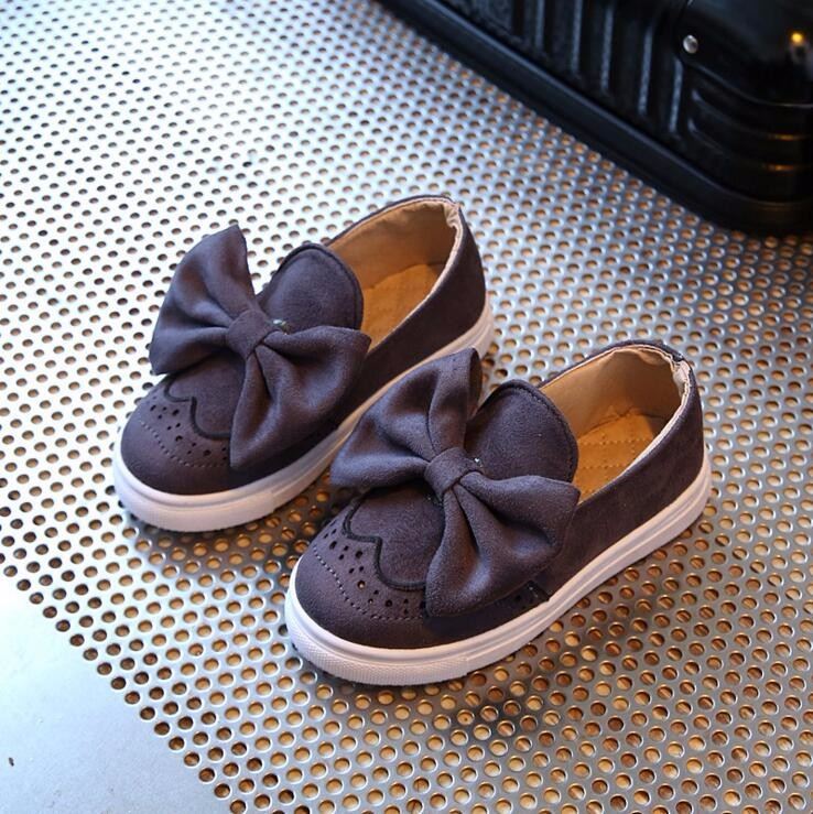 2017 New Spring Children Shoes Girls Autumn Cute Bow Fashion Princess Girls Shoes Kids Soft Casual Single Shoes Size 26-30