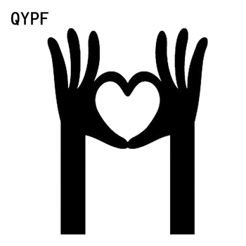 QYPF 10.7*13.8CM LOVE Hands Equality Graphic Car Sticker High Quality Vinyl Motorcycle Accessories Black/Silver C16-0329 image