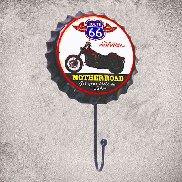 Mother Road Route 66 Metal Hook Historic Road Wall Stickers Decor Iron Retro Tin Metal Signs Plaques