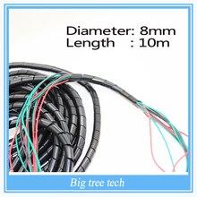Бесплатная доставка диаметр 8 и 6 мм 33Ft. (10 м) спиральный кабель wire wrap трубка PC Управление шнура 10 мм черный для 3D принтера
