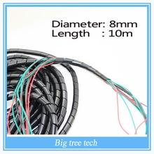 Бесплатная доставка диаметр 8 мм 33ft. ( 10 м ) кабель обруча провода трубка PC управление шнура 10 мм черный для 3D принтер