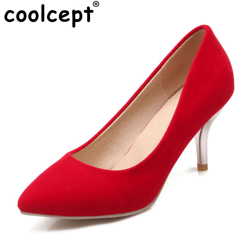 Coolcept women high heel shoes lady suede leather footwear pointed toe sexy fashion heeled pumps heels shoes size 34-47 P19154 high heels women pointed toe pumps fashion glitter thin heel shoes woman sexy wedding party heeled footwear shoes size 34 47