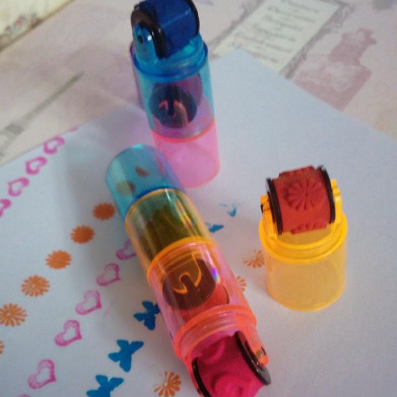 3 Pcs/set Cute Combination Pens Shape Stamps Sets Cycle Roller Stamp Kids DIY Scrapbook Photo Album Students Stamps Arts