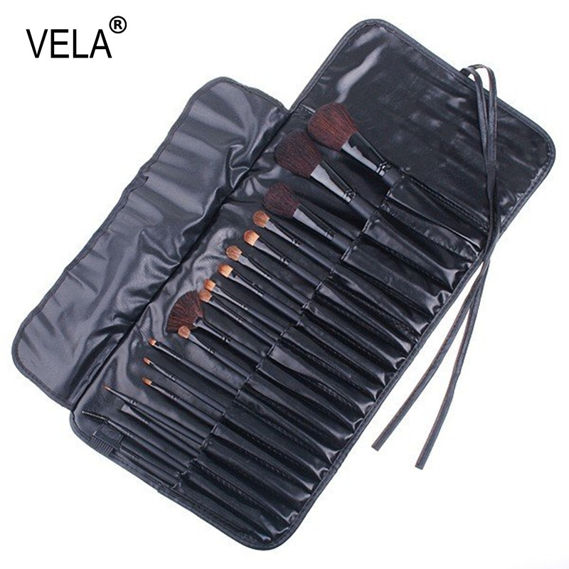 18pcs Black Makeup Brushes Set Professional Beauty Tools Kit with Case