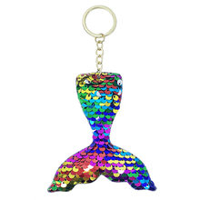 New multi color flip face sequins mermaid tail fish tail tail shape key ring pendant girls car key chain pendant small gifts(China)