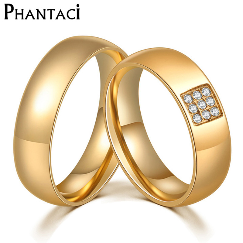 Classic 6MM Stainless Steel Wedding Ring For Men Women IP Gold Color Zircon Crystal Couple Engagement Rings Set Lovers Jewelry