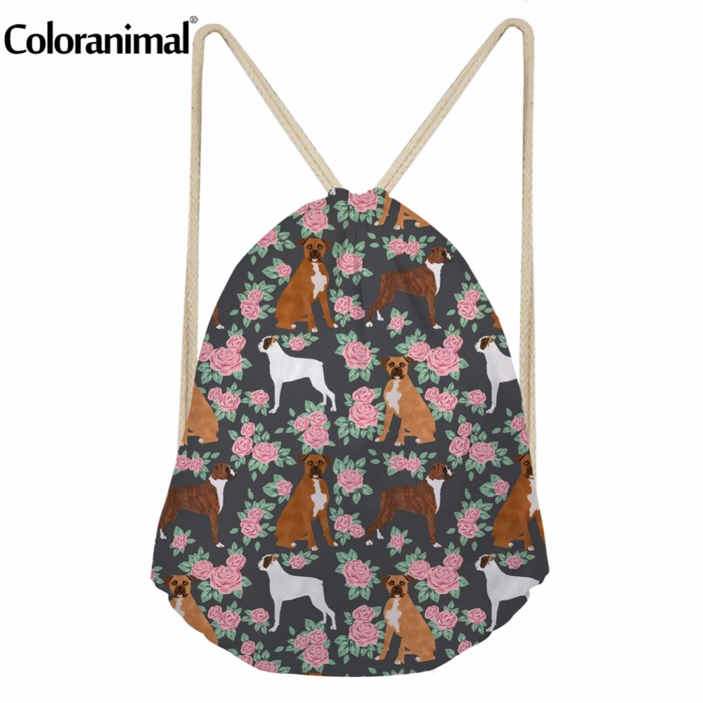 Coloranimal Women Beach Travel Drawstring Bag Fitness Shoes String Backpack 3D Cute Puppy Dog Box Print Female Sack Storage Bags