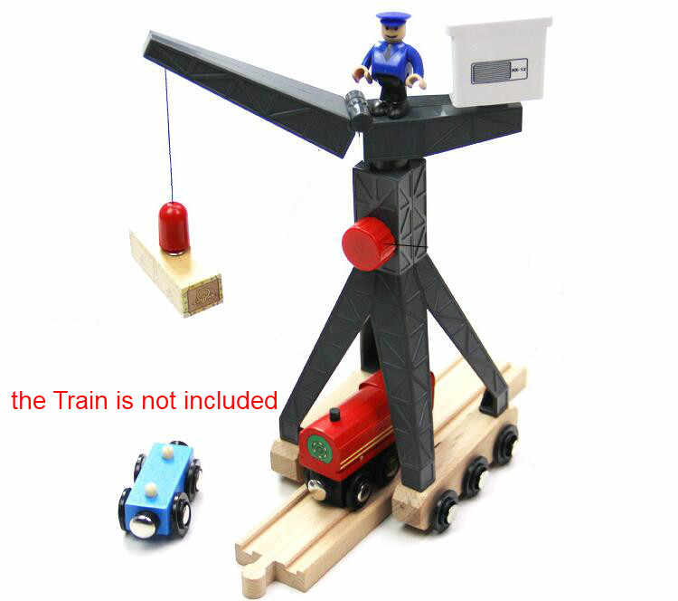 EDWONE  Move Tower Crane EDWONE Thomas Wooden Train Track Railway Accessories Tender Component Educational Toys Kid Gift