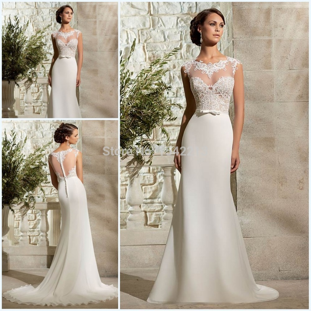 Bridal Gowns With Lace Cap Sleeves: Rude Style Lace Appliqued Long Short Cap Sleeves Vintage