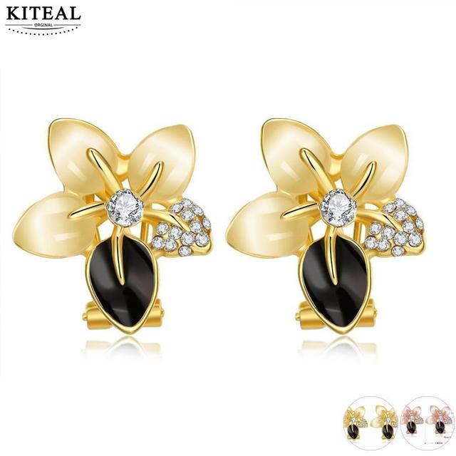 Online Ping India Yellow Gold Color Earing Rose Stud Earrings Brincos Jewellery