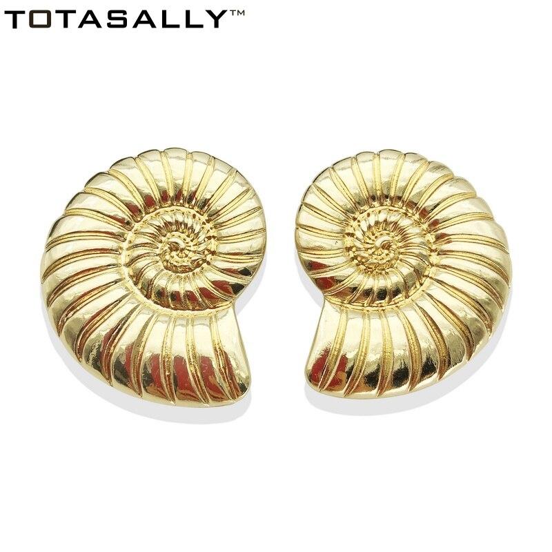 TOTASALLY  Fashion Ocean snail Earrings Golden Oversiz Conch Heavy Metal Stud Earring for Women Jewelry pendientes