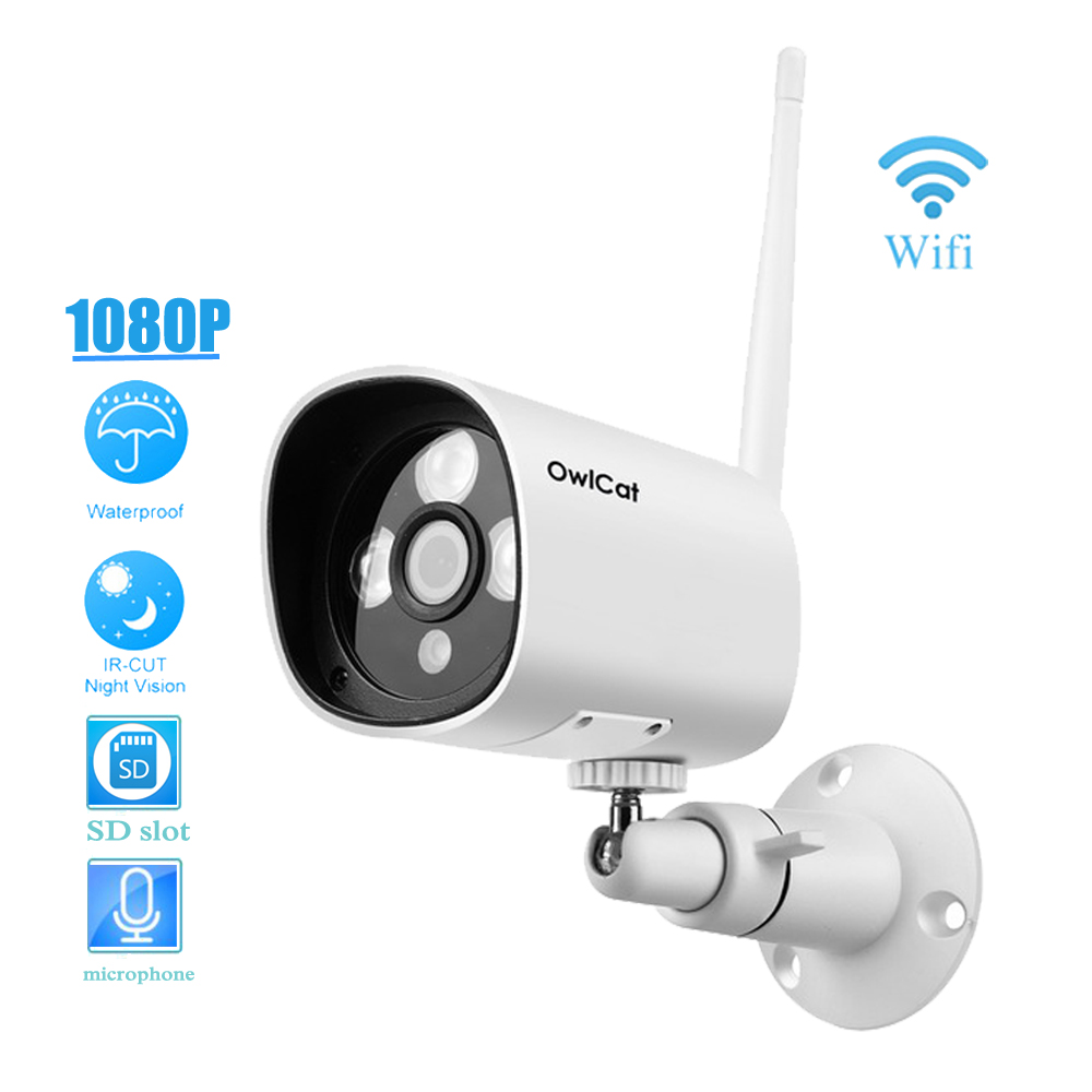 OwlCat Full HD 1080P 2.0MP Outdoor/Waterproof Bullet WiFi IP Camera Onvif 2.4 Wireless Memory SD Slot Microphone Audio IR-CutOwlCat Full HD 1080P 2.0MP Outdoor/Waterproof Bullet WiFi IP Camera Onvif 2.4 Wireless Memory SD Slot Microphone Audio IR-Cut
