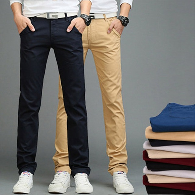 a416503e654e New Fashion summer Big Size Mens Straight Cargo Pants Chinos Men Casual Slim  Fit Spring Army Green business Trousers Clothing
