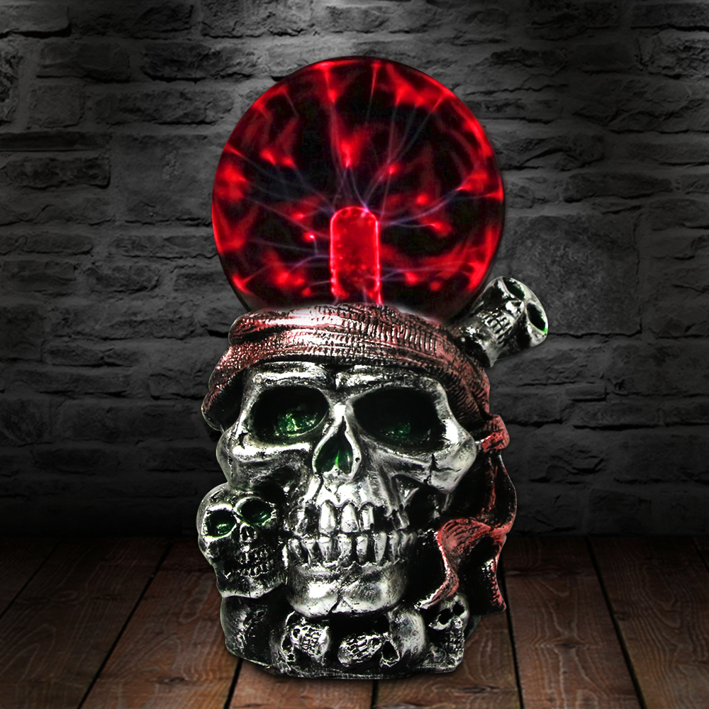 Pirate Skull With Red Bandana Night Light Plasma Ball Horror Lighting Gothic Buccaneer Skeleton Magical Lamp Figurine