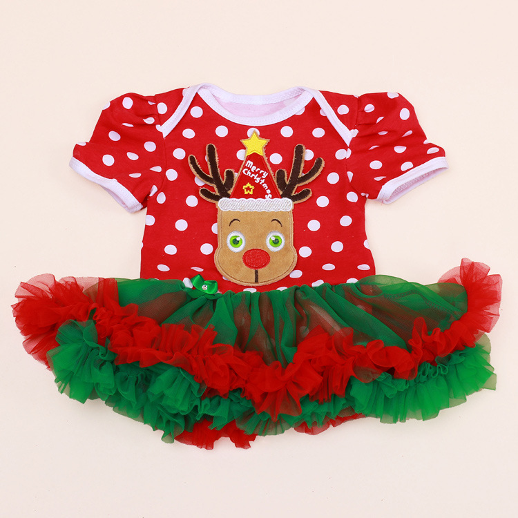 One Piece Newborn Baby Rompers for Christmas Holiday Tutu Dress Set Birthday Party Girl Set Red Green Xmas Infant Girls Clothing ems dhl free shipping wholesales new arrival baby holiday pettiskirt tutu skirt bow party 2pc set holiday clothing costume