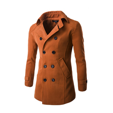 Winter Men Slim Fit Wool Blends Business Solid Brand Jacket Wool Double Breasted Coat Casual Overcoat Long Warm 4 Colors 9042(China)