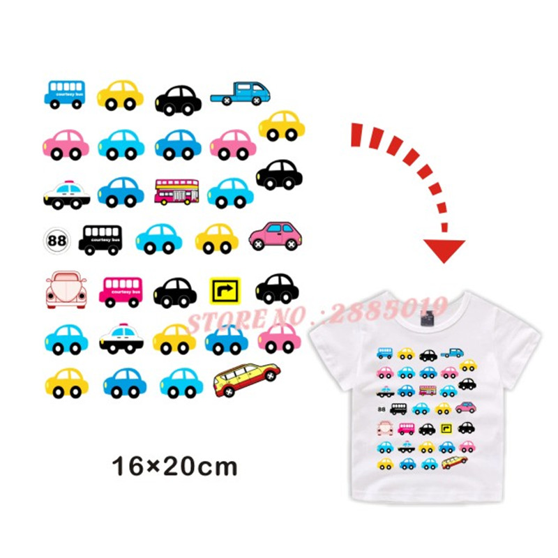 Multicolor Cars Traffic Lights Iron On Patches Thermal Transfer Press Pyrography Paper Ironing Washable Vest Sticker for Clothes