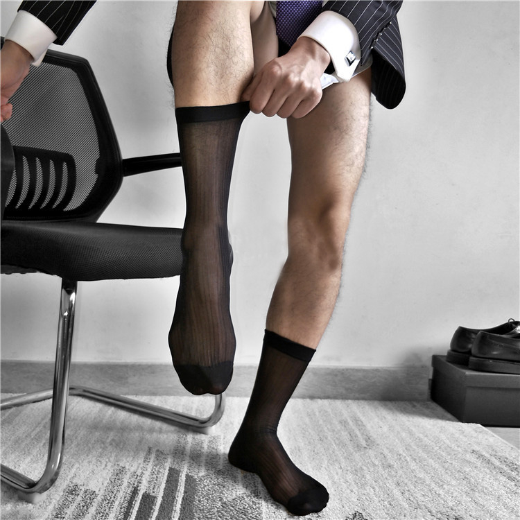 2018 MenSexy Sox Leather Shoes Socks Hose Foremal dress suit socks Male silk fine lines sexy business nylon stockings