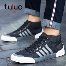TULUO High Top Canvas Shoes Men Casual Wear-resistant Flat Shoes Mens Autumn Winter Male Fashion Footwear Big Size