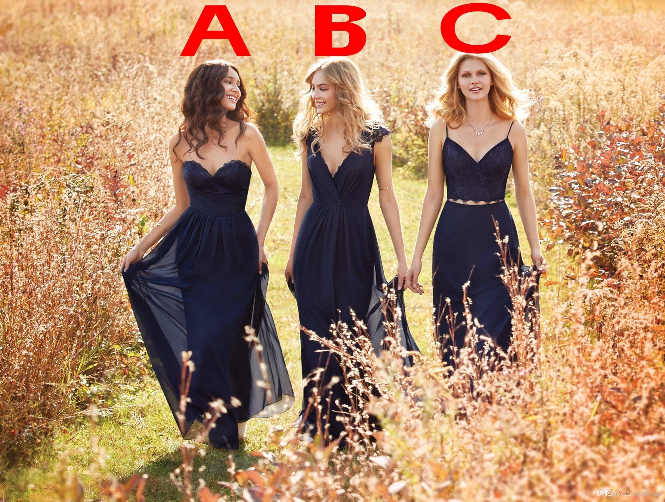 Popular bridesmaid navy blue vintage dresses buy cheap bridesmaid navy blue a line lace chiffon long bridesmaid dresses 2017 vintage two pieces bridesmaids dresses maid ombrellifo Gallery