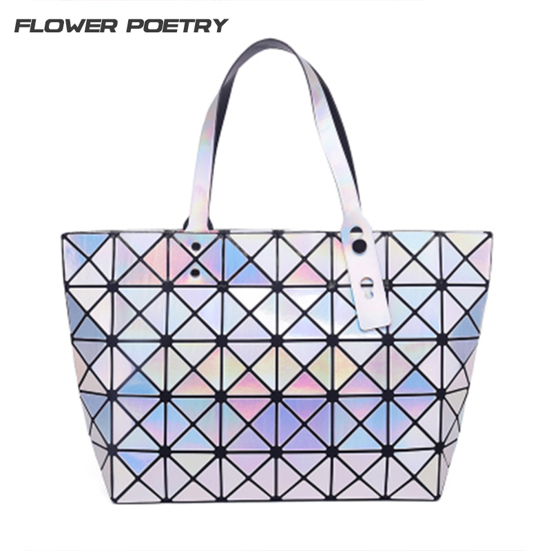 Fashion Women Handbags BaoBao Laser Geometry Sequins Mirror Plain Tote Holographic Women Shoulder Bao Bao Bags