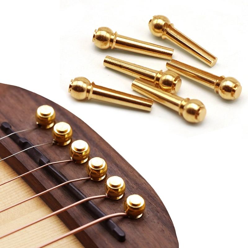 6 Pieces/lot Guitar Strings Nail Metal Acoustic Guitar Bridge Pins Brass Guitar Strings Fixed Cone String Pins String Nails
