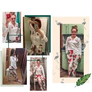 Image 4 - BZEL 여성 잠옷 세트 코튼 긴 소매 피자 마 Mujer 플라밍고 인쇄 Loungewear 도매 캐주얼 잠옷 Femme 빅 사이즈 M 3XL