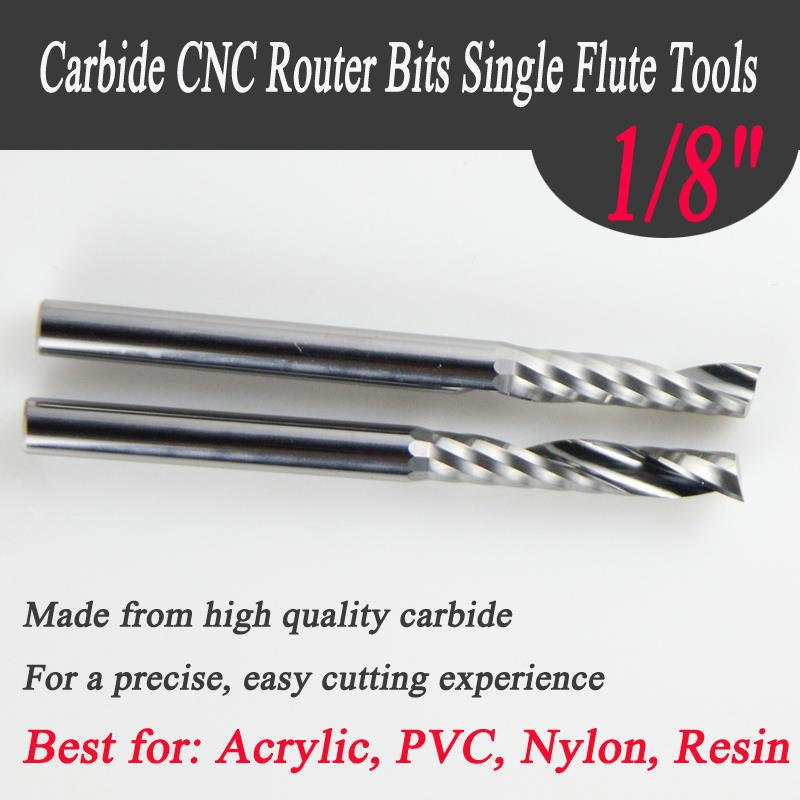 New 10PCS 1/8 Single Flute Carbide Engraving CNC Router Bits Tools Cutting 17mm Long CEL Acrylic Pvc Wood