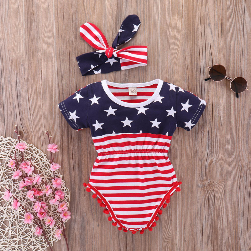 Newborn Baby Clothes 4th of July Stars and Stripe Patriotic   Romper   Outfits Set Baby Girl   Romper   Baby   Rompers   Recien