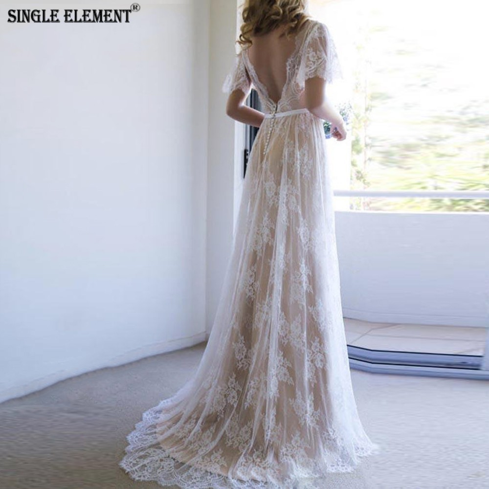 SINGLE ELEMENT 30% Discount Luxury Lace Boho Wedding Dress 2019