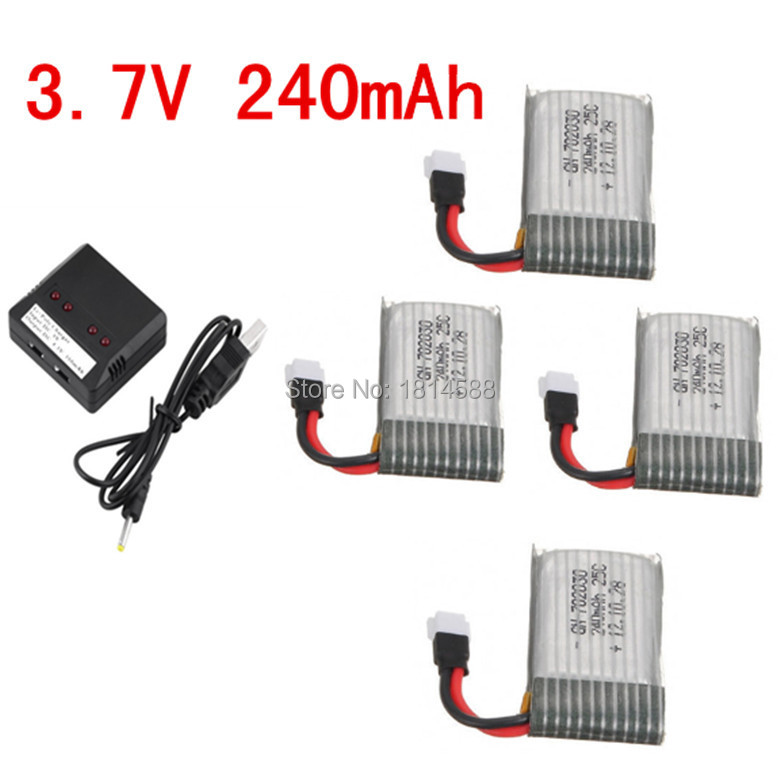 Syma X11 X11C 3.7 V 240 MAH battery and 4 in 1 x 4 USB charger balance for Syma RC drone quadcopter