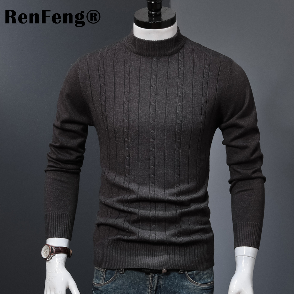 Korean Stretched Thick Warm Men Turtleneck 2018 Winter Mens Sweaters Pullovers Knit Long Sleeve Cashmere Sweater Male Jumper Top (9)