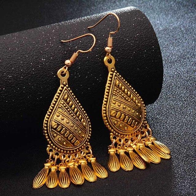 SHUANGR Fashion Hot Gold-color Metal Tassel Dangle Earrings Oversize Pendientes Long Earrings For Women Ethnic Indian Jewelry 3