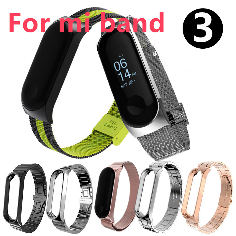 Nouveau Bracelet en métal pour Xiao mi band 3 Bracelet intelligent en métal Bracelet en acier inoxydable pour Xiao mi band 3 bande intelligente