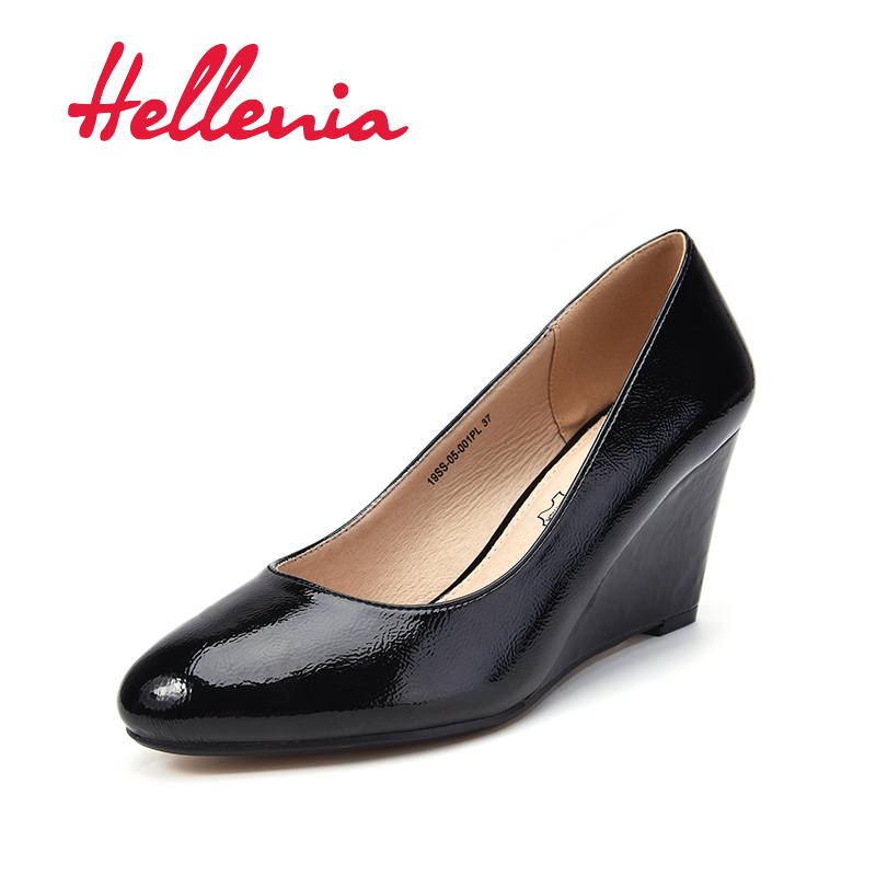 Hellenia Spring Autumn Official Shoes Women Wedges Pumps High Heels Wedding Shoe Woman Boat shoes Ladies Basic Kid Leather Pump