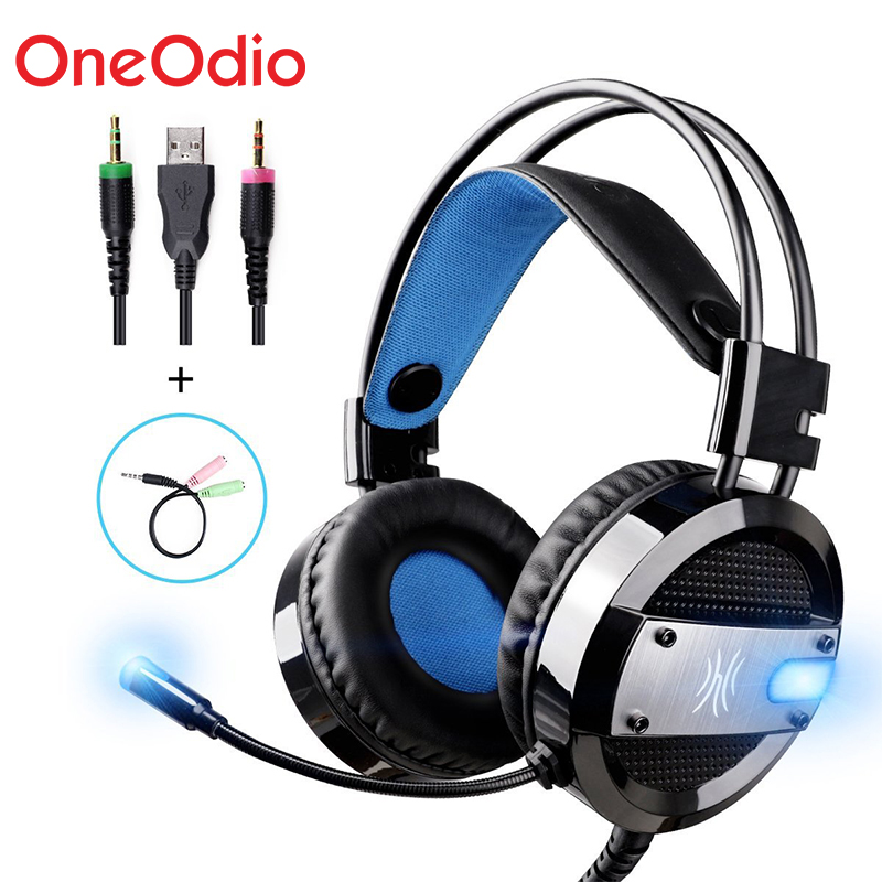 Oneodio Wired Gaming Headset Deep Bass For Computer Xbox PS4 Gaming Headphones with Microphone LED Light For PC Xiaomi Phone oneodio stereo gaming headset for phone pc computer headphones with mic over ear noise cancelling for pc ps4 xbox mobile