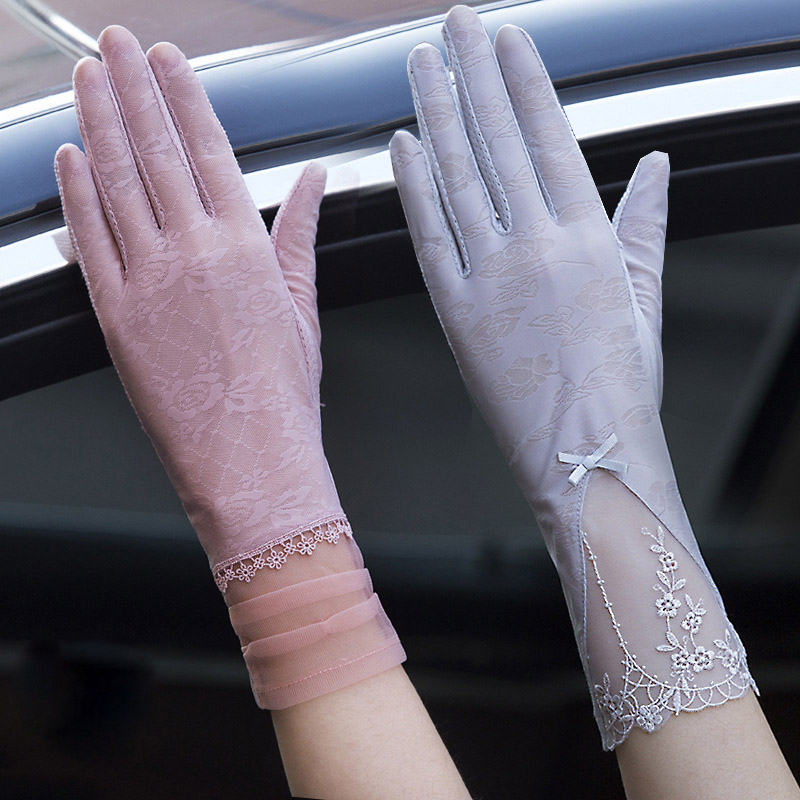 Sexy Spring Summer Female UV Sunscreen Short Sun Touch Screen Gloves Fashion Women Thin Ice Silk Lace Pearl Driving Gloves 05CD