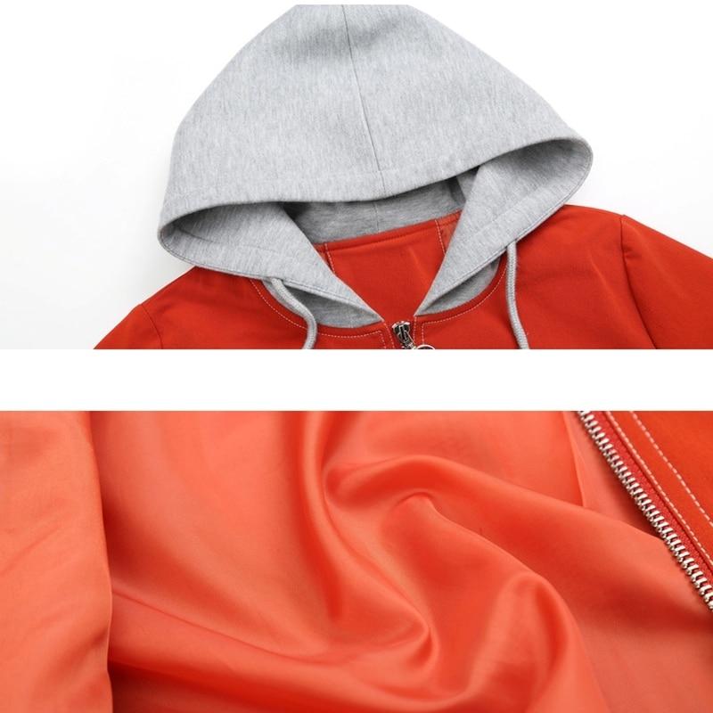 La Capuche Black Nouveau Orange Mince Tops 5xl Casual Court Femmes orange Femelle 4xl Femme Printemps Noir Élégant Taille Solide À Veste Patchwork Plus IOnwq