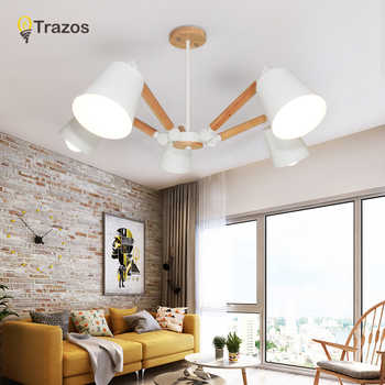 TRAZOS Macaron LED Chandeliers For Living Room Bedroom Kids room Wooden Chandelier candelabro Indoor Hanging Lamp lampadario led - DISCOUNT ITEM  30% OFF All Category