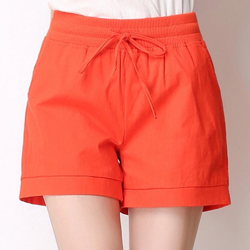 2016 summer style women elastic waist shorts femele candy for Women s fishing shorts